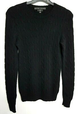 Ralph Lauren 100% Cashmere Womens Jumper Sweater M Slim Black