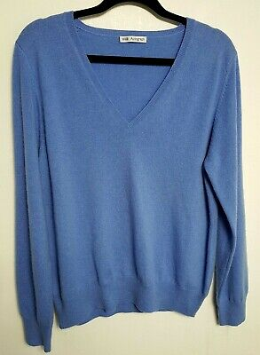 Marks & Spencer 100% Cashmere Womens Jumper Sweater L Uk 18 Blue Grey
