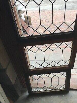 Sg 2888 3 Av Price each antique leaded glass transom window 23 x 18