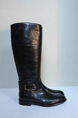 019156b7c7397 sz 7 US   37 Eur Burberry Black Leather Knee High Riding Tall Boots Shoes