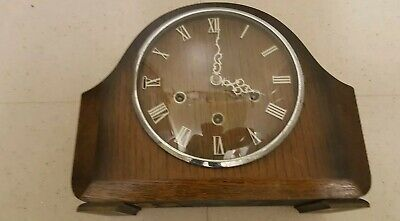 Vintage 1950s Smiths 8 Day Westminster Chimes Mantle Clock With Key And pendulum