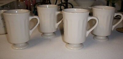 Set of 4 Homer Laughlin ~ Restaurant Ware ~ Footed & Ribbed ~ Cup/Mugs