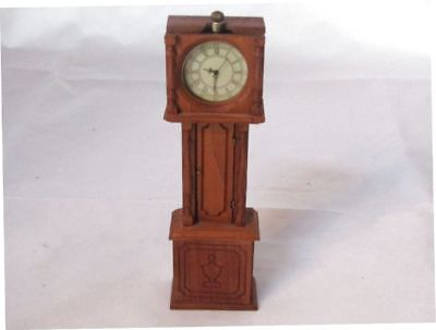 Vintage Dollhouse Miniature Working Grandfather Clock-Weighted And Working-(New