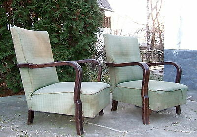 Art Deco Armchairs. Club Cocktail Chairs. For Restoration. 1930s Vintage Antique