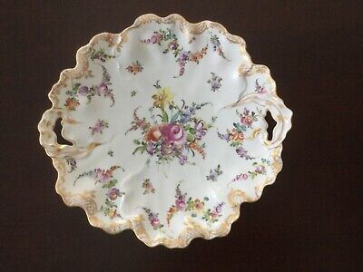 Antique Dresden Porcelain Gilded Dish Plate with Reticulated Handles