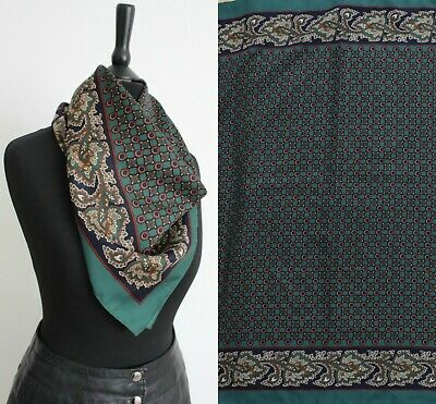Vintage 1970s Green Scarf RETRO Boho Chic Arts and Crafts Style Neck Head Scarf