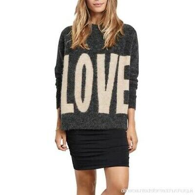 "Hush ""LOVE"" Oversized Grey Jumper Size S"