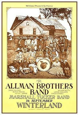 Allman Brothers Band LIVE - Marshall Tucker Band POSTER in San Francisco 1973