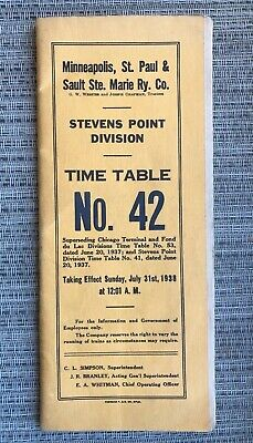 VINTAGE TRAIN RAILWAY Time Table St  Paul Minneapolis
