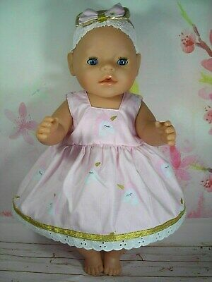 "Dolls clothes for 17"" Baby Born doll~PINK UNICORN/GOLD TRIM DRESS & HAIR BOW"