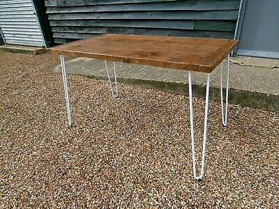 Stylish Small Dining Kitchen Table Old Pine Top Hairpin Legs - We Can Deliver