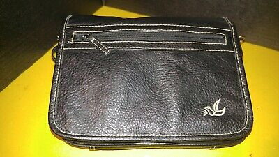 White Dove Black Leather Look Purse Style Bible Cover Large Size Zipper