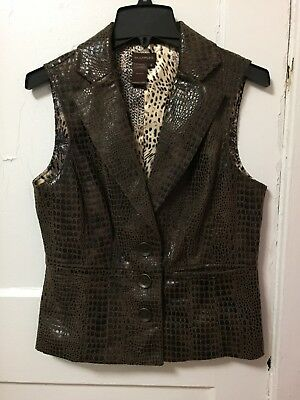 Women's Multiples Animal Print Faux Leather Vest Size Small S