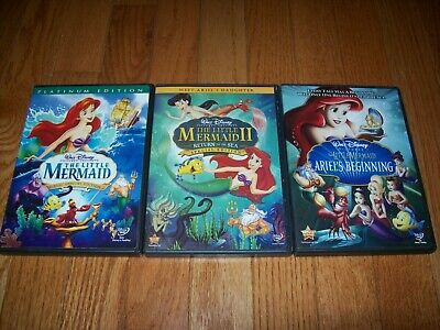 Disney's The Little Mermaid trilogy on DVD. 1, 2, 3. I, II & Ariel's Beginning