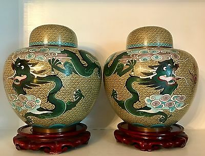 """Pair BIG 10+"""" Old Republic Chinese ~Dragons~ Cloisonne Ginger Jars ~Lids ~Stands"""
