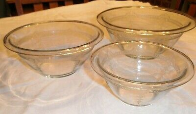 Fire King SAPPHIRE BLUE UTILITY 3 pc MIXING BOWL SET GAY FAD MIXING BOWLS 60's