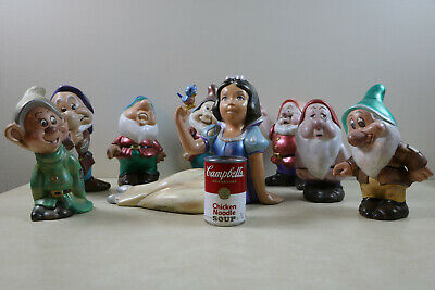 Vintage Ceramic Snow White & The Seven Dwarfs Garden Gnome Full Set 10""