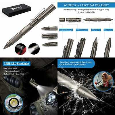 Tactical Pen For Self Defense Rechargeable Waterproof CREE LED Flashlight Window