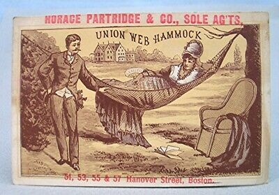 Vintage Victorian Trade Card - Union Web Hammock - Horace Partridge & Co  Boston