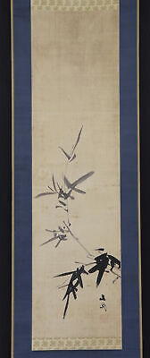 "JAPANESE HANGING SCROLL ART Painting ""Bamboo"" Tani Buncho Asian antique  #E6589"