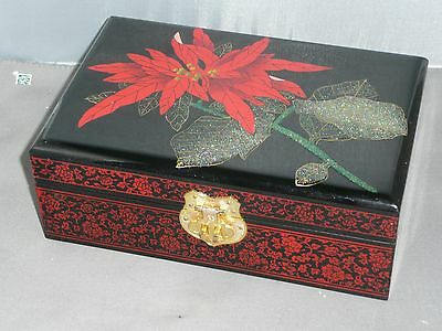 Chinese Asian Oriental Hand Painted Lacquered Jewelry Box