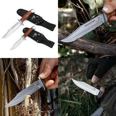 2 PC Bowie Knife Fixed Blade Hunting Knives W Leather Handle FREE SHIPPING