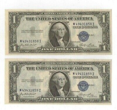 Consecutive Set 1935 One Dollar Silver Certificates Uncirculated Crisp, Clean