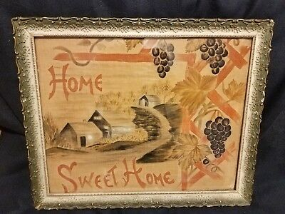 Vtg 1900s Americana Primitive watercolor silk Painting Home Sweet Home BARN OLD
