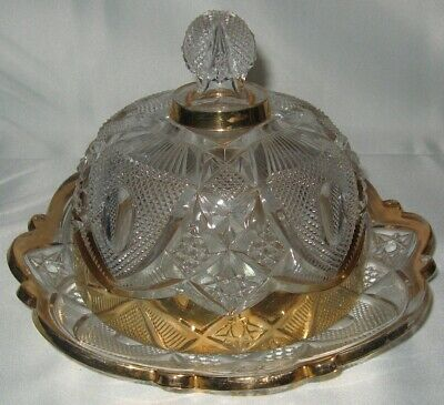 EAPG 1903 US Glass #15084 New Hampshire Dome Butter Dish Gold Trim Bent Buckle