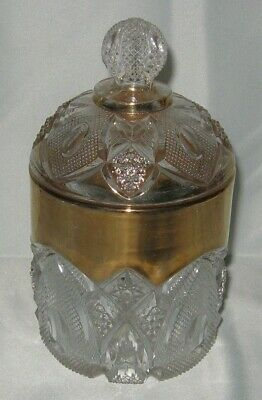 EAPG 1903 US Glass #15084 New Hampshire Sugar with lid Gold Trim  Bent Buckle