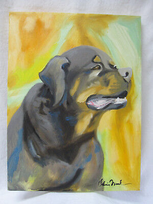 Rottweiler Mastiff Pit Bull Dog Original Oil Painting Signed Valerie Frank 2011