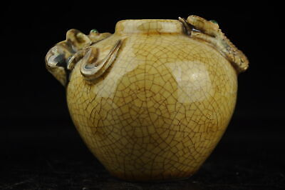 china old hand-made yellow glaze porcelain carve snake and mouse pot b01