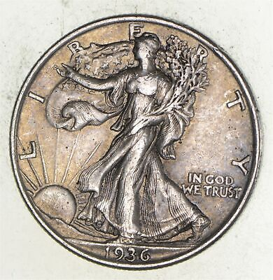 XF+ 1936 Walking Liberty 90% Silver US Half Dollar - NICE COIN *383