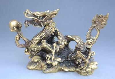 chinese old fengshui copper animal zodiac dragon auspicious lucky statue f02