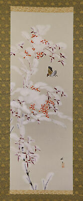 """JAPANESE HANGING SCROLL ART Painting """"Sparrow"""" Asian antique  #E6600"""