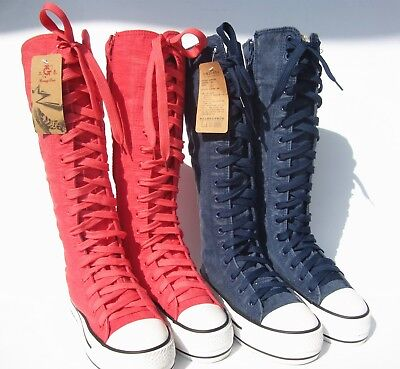 Women's girl lace washed denim canvas sneakers knee high boots punk shoes