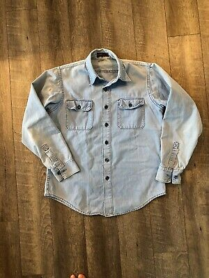 29a42d05 Vintage Rare 70s Patagonia Big Tag Label Denim Weight Shirt Mens Size M