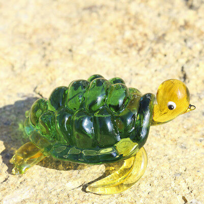 Crystal Sea Turtle Figurine Handmade Glass Blown Green Paperweight Home Decor