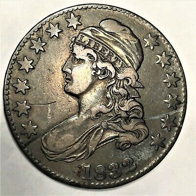 1832 Capped Bust Half-Dollar Silver Coin - Large Letters. Very Fine Condition