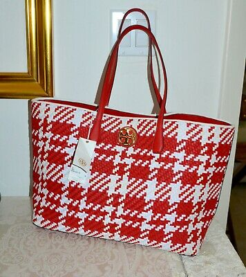 71011db0598 NWT  595 TORY BURCH Leather Duet Woven Tote Houndstooth Shoulder Bag ~ Red  White