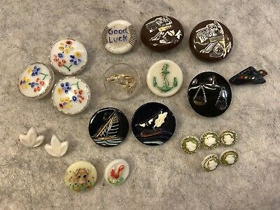 21 Vintage Glass Buttons Lot Dogs Sail Boats Hat Duck Flowers Anchor Czech Old