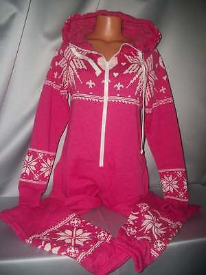 Adorable Victorias Secret Pink Fairisle Hooded Romper One Piece Pajamas NWT M