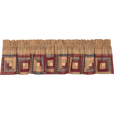 NEW!! Primitive Country Farmhouse Millsboro Log Cabin Patchwork Valance 16 x 72