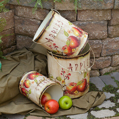 French Country Pair of Le Jardin Paris Zinc Embossed Tin Buckets Antique Style