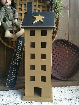 Beautiful Large Primitive Country Rustic Handmade Wood Saltbox House With Light
