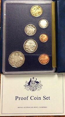 1985 Royal Australian Mint Proof Set of 7 Coins - some turned coins, scratches