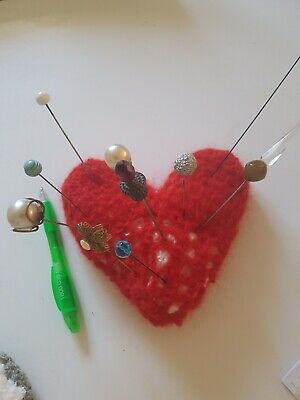 VINTAGE HAT PINS & New Handmade (by Me) Crocheted Red  Heart PIN CUSHION.