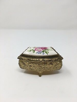 Vintage  Brass and Porcelain 3 Footed Trinket Jewelry Box. Japan with Flowers