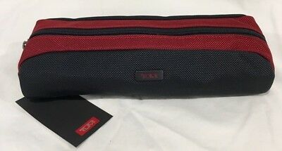 Nwt Tumi Electronic Long Cord Pouch Accessory Dark Grey Red Nylon Travel Bag