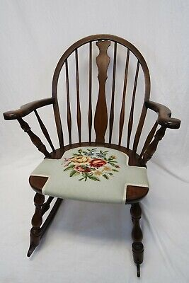 Antique Bentwood Rocking Chair | Windsor Style, Floral Needlework, Beautiful
